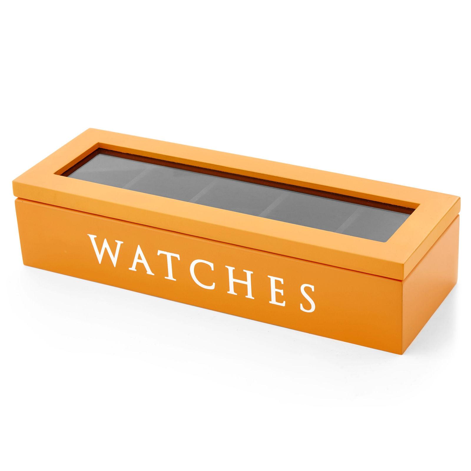 Warren Asher Oranssi puinen kellolaatikko - 5 kellolle