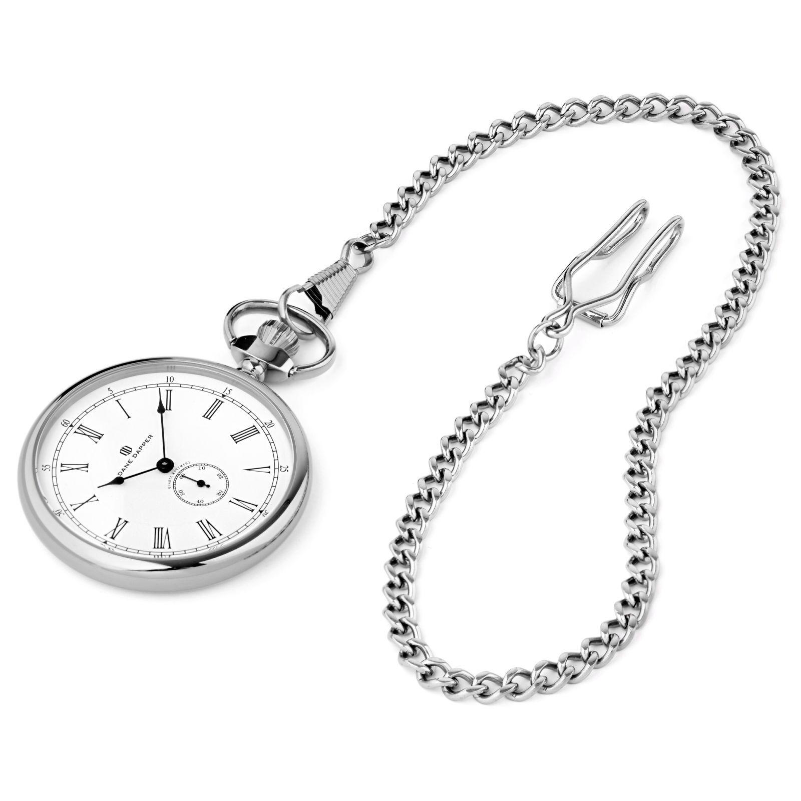 Dane Dapper Hopeanvärinen & valkoinen Time Keeper -taskukello
