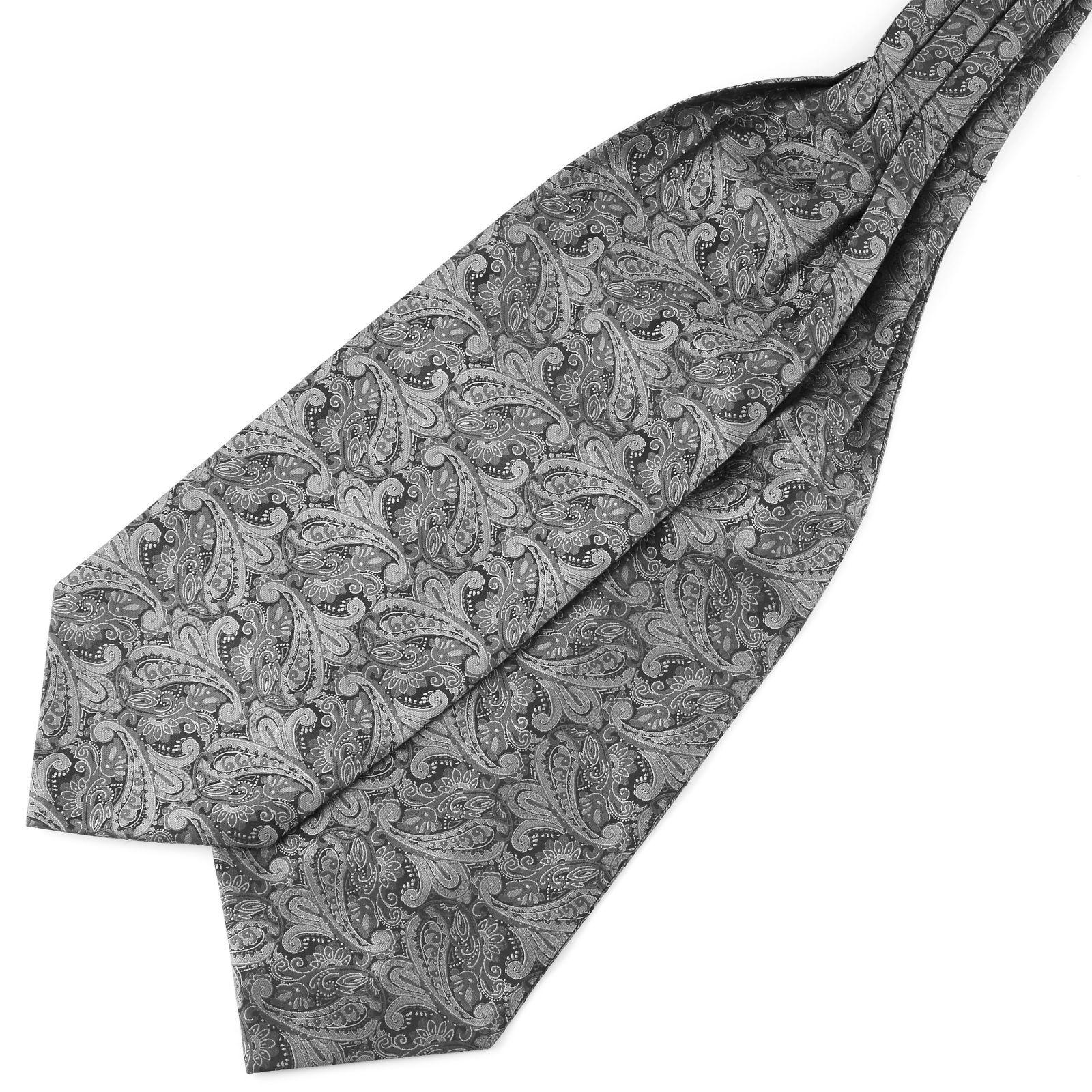 Tailor Toki Hopeanharmaa kasmirkuvioinen polyesteri ascot-solmio