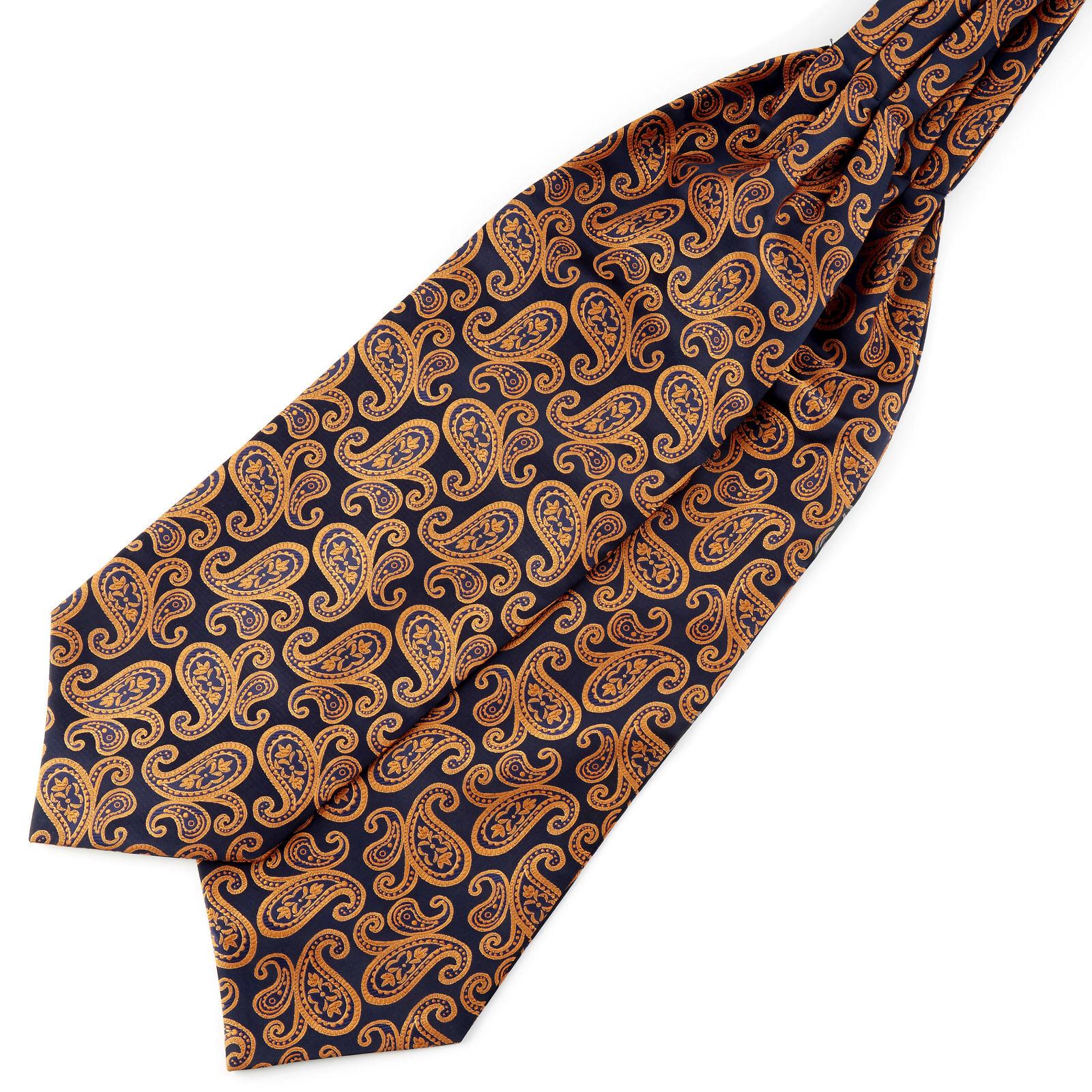 Tailor Toki Laivastonsininen & oranssi kasmirkuvioinen polyesteri ascot-solmio