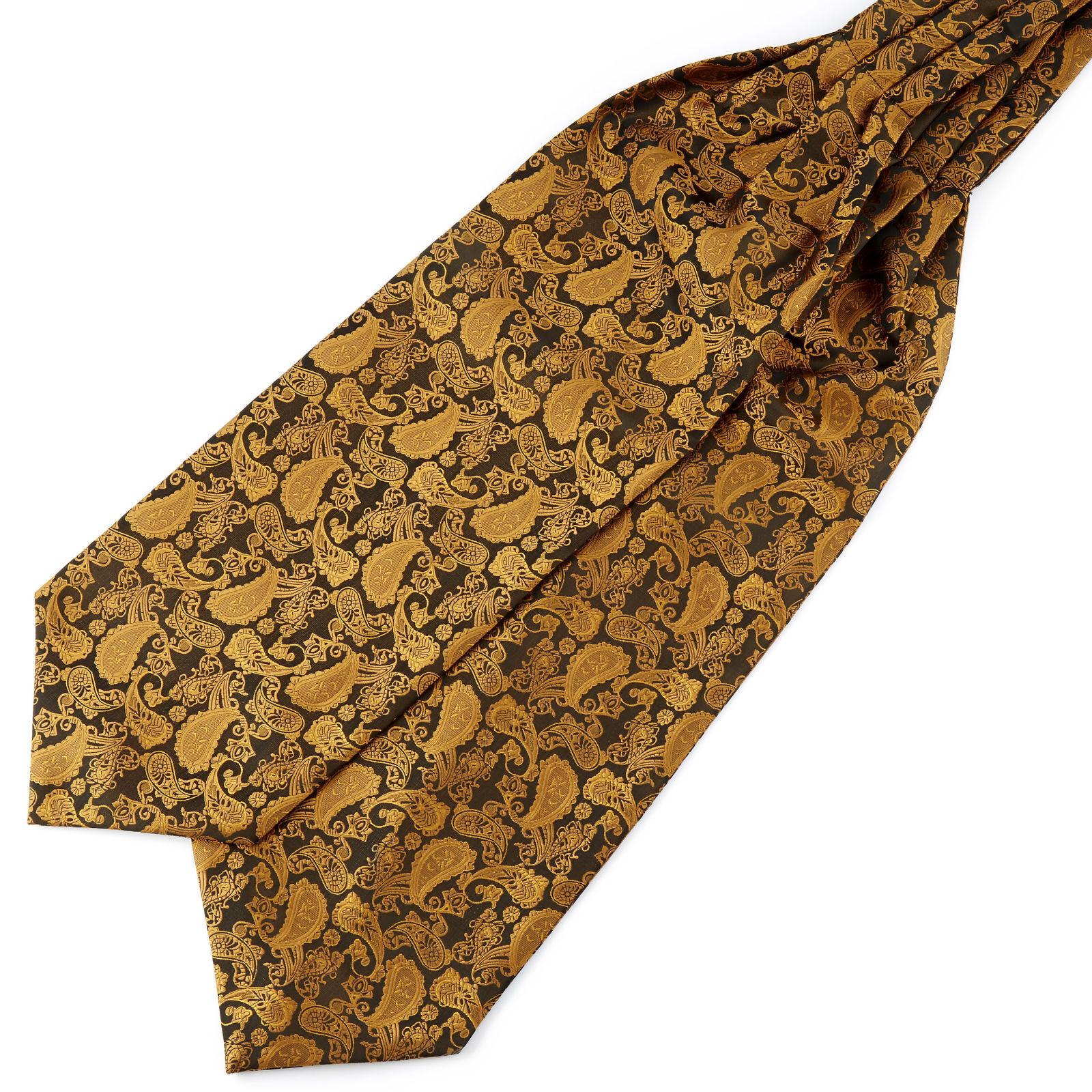 Tailor Toki Kullanvärinen & ruskea kasmirkuvioinen polyesteri ascot-solmio