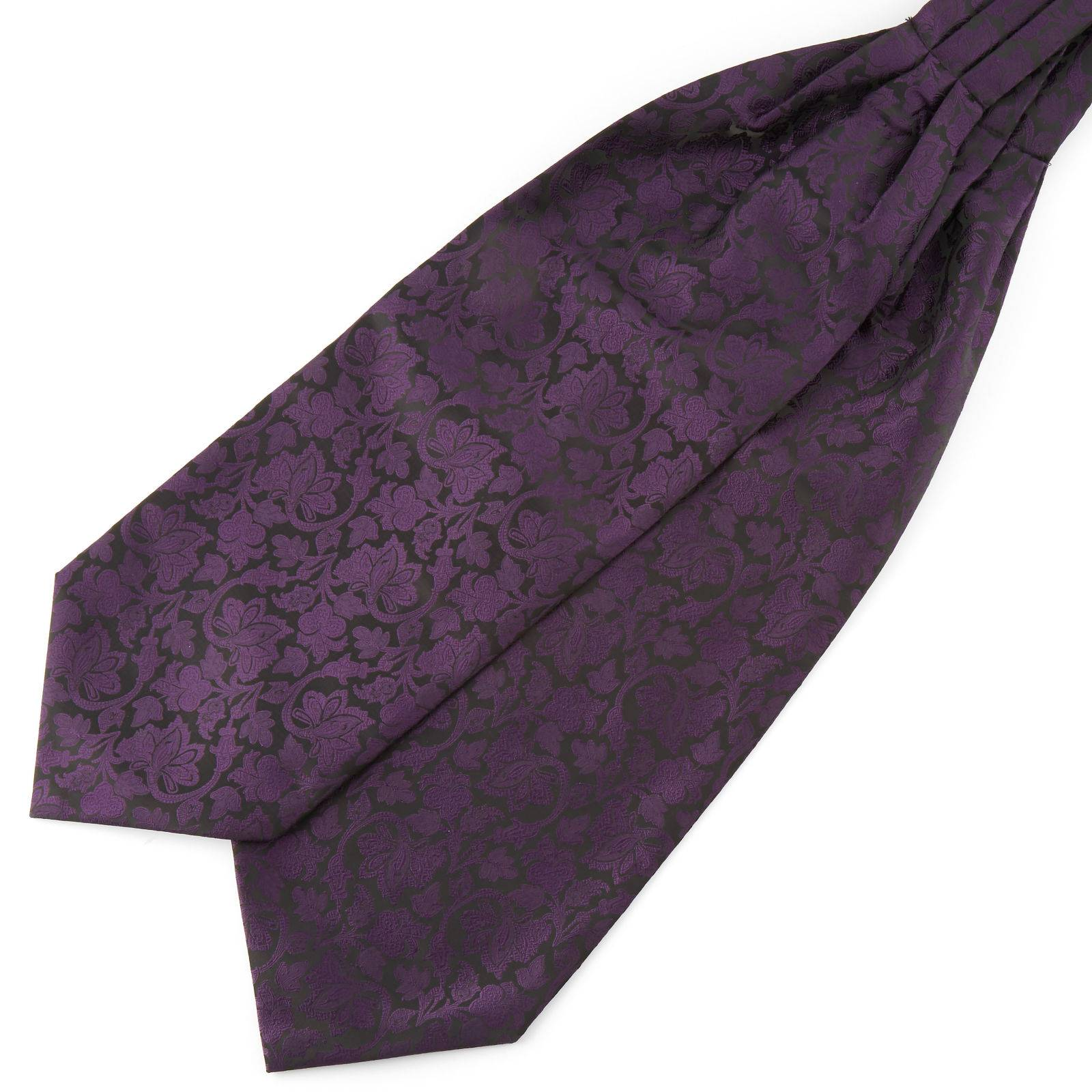 Tailor Toki Violetti & musta barokkityylinen polyesteri ascot-solmio