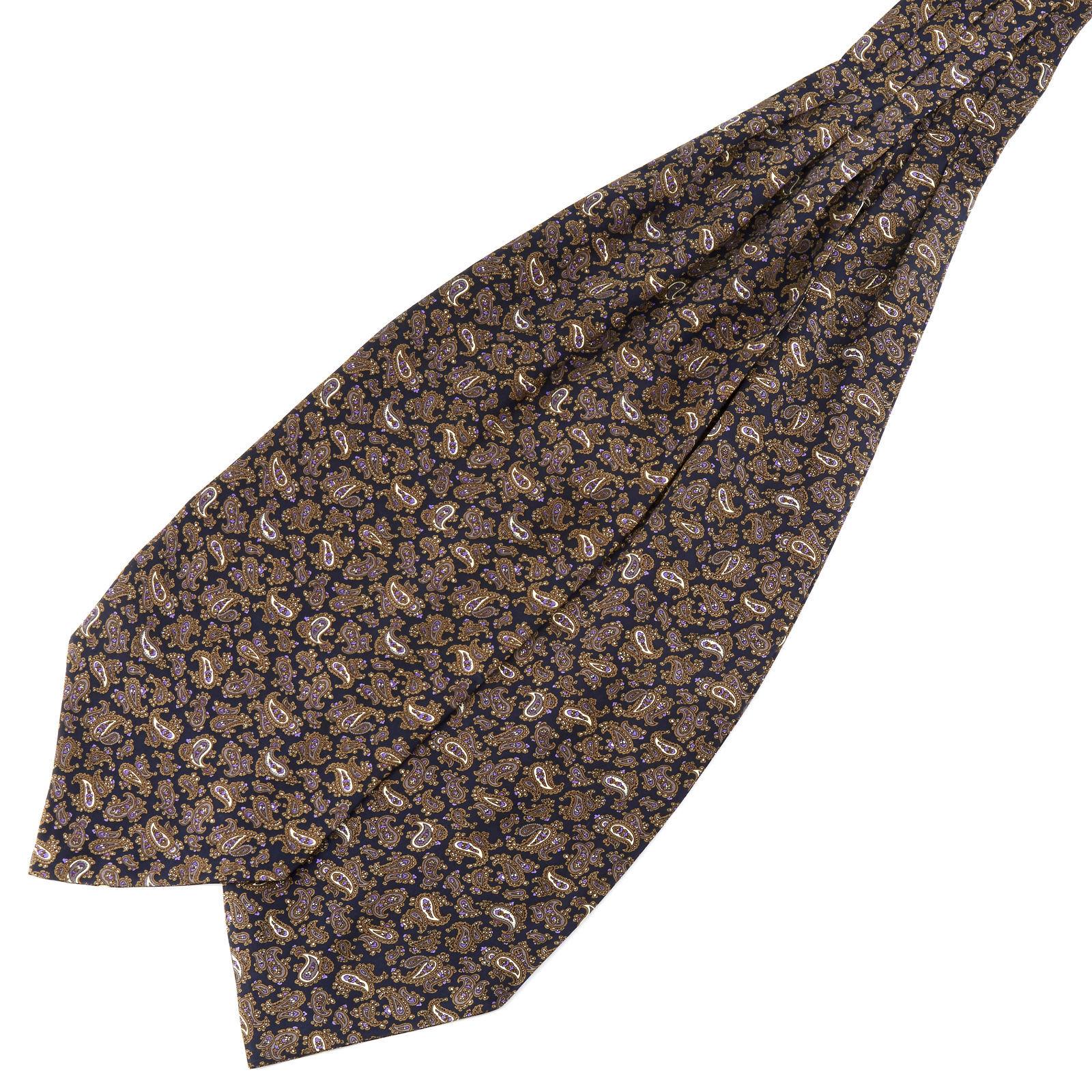 Tailor Toki Ruskea & violetti kasmirkuvioinen silkki ascot-solmio