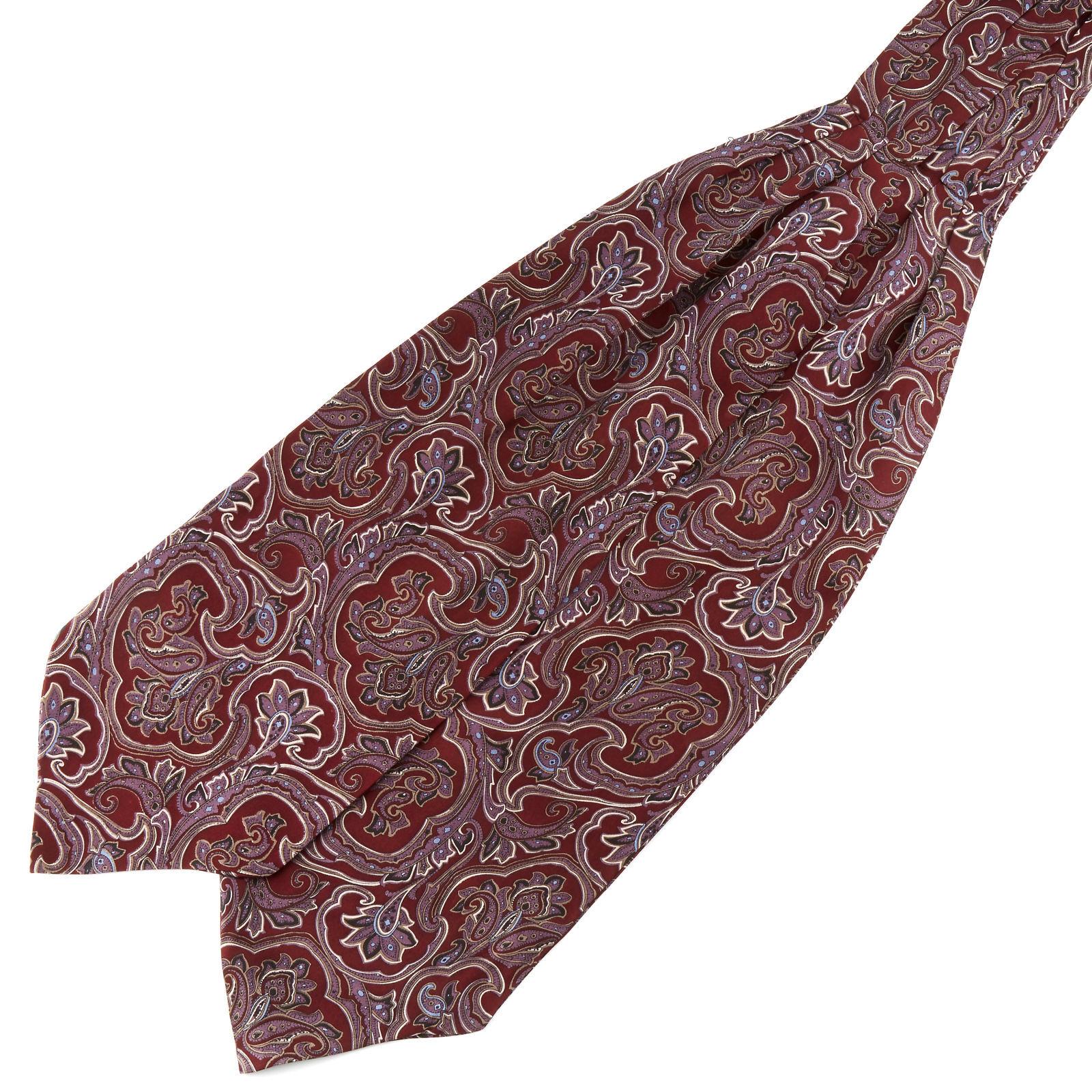Tailor Toki Punainen & laventeli barokkityylinen silkki ascot-solmio