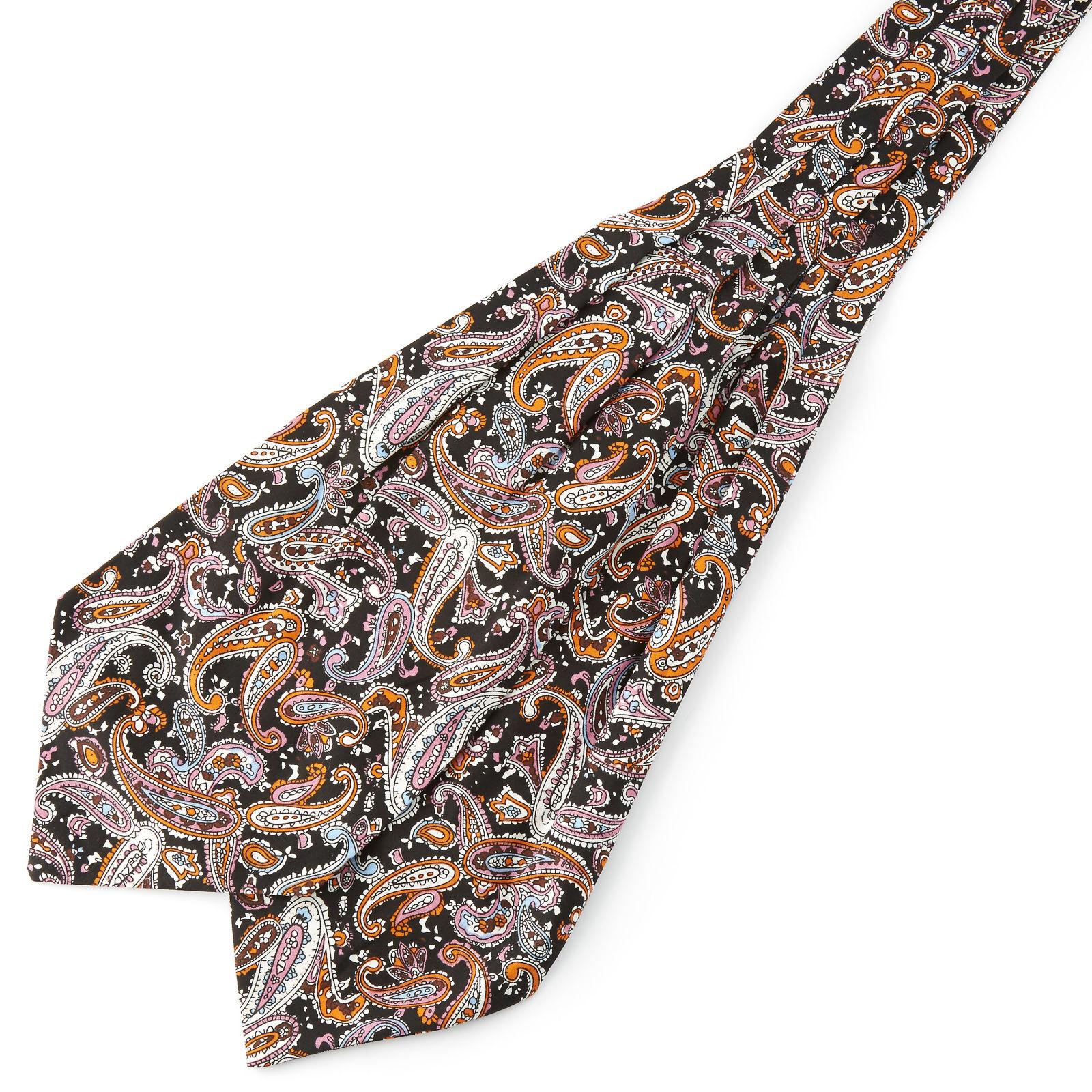 Tailor Toki Pastelli & musta kasmirkuvioinen puuvilla ascot-solmio