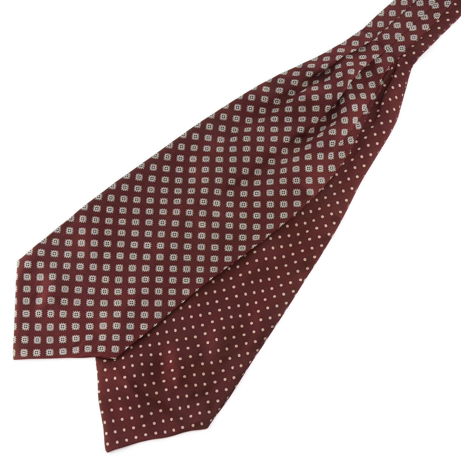 Tailor Toki Viininpunainen geometrinen Polka Dots silkki ascot-solmio
