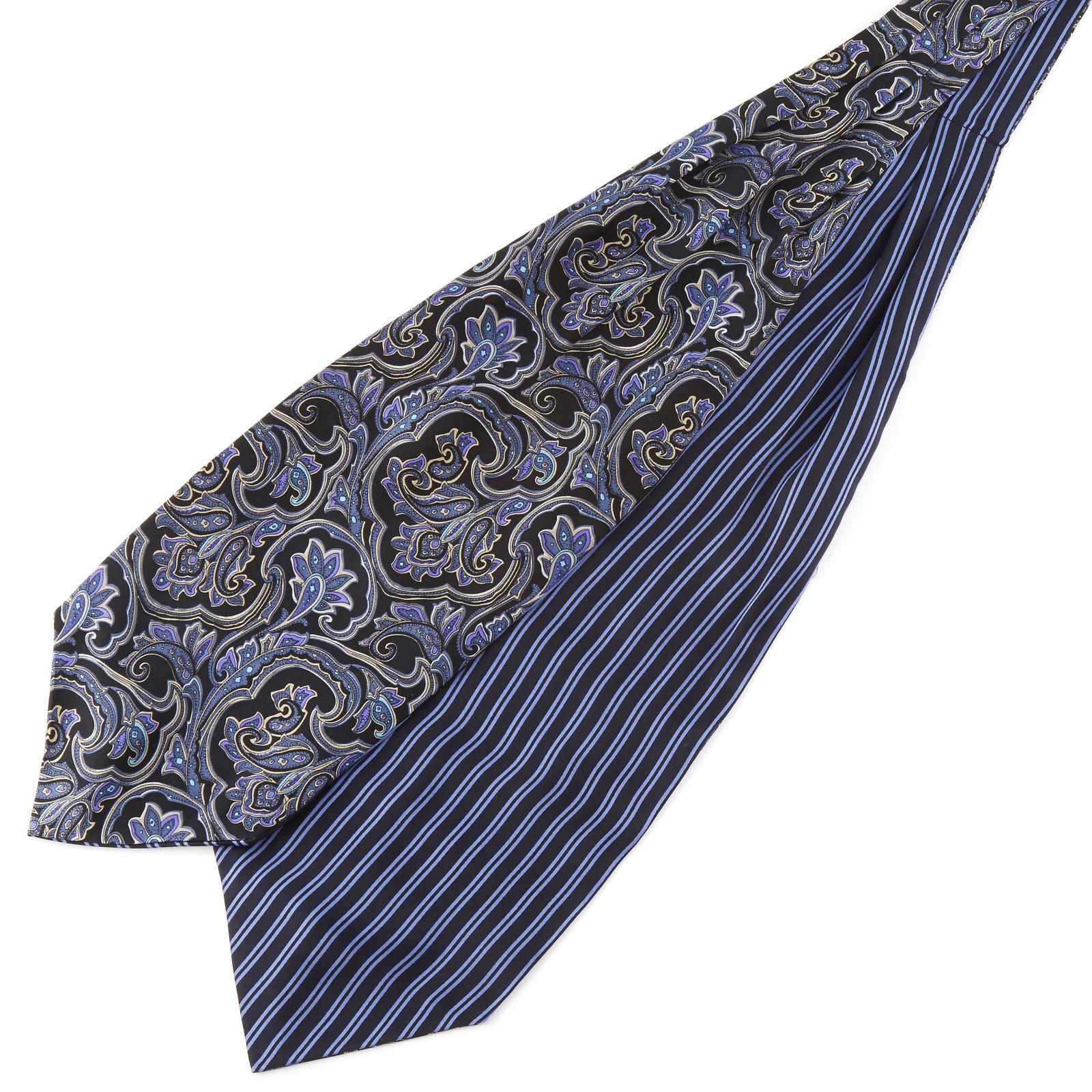Tailor Toki Sininen raita & barokkityylinen silkki ascot-solmio