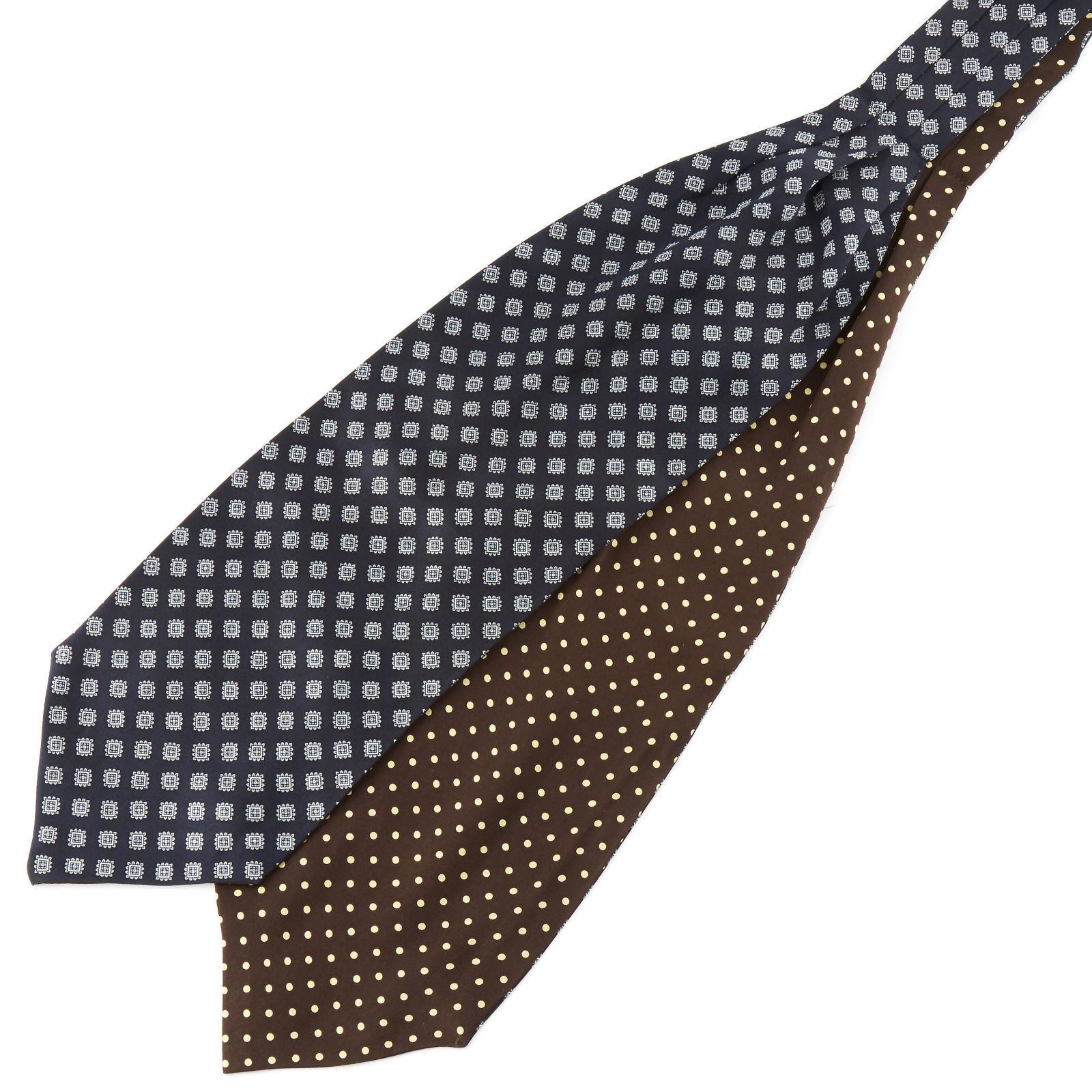 Tailor Toki Ruskea & laivastonsininen kaksipuolinen silkki ascot-solmio
