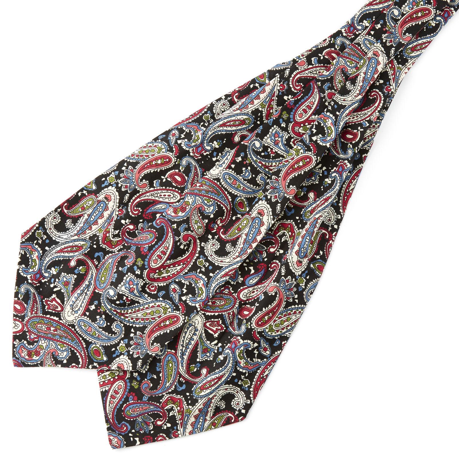 Tailor Toki Monivärinen & musta kasmirkuvioinen puuvilla ascot-solmio