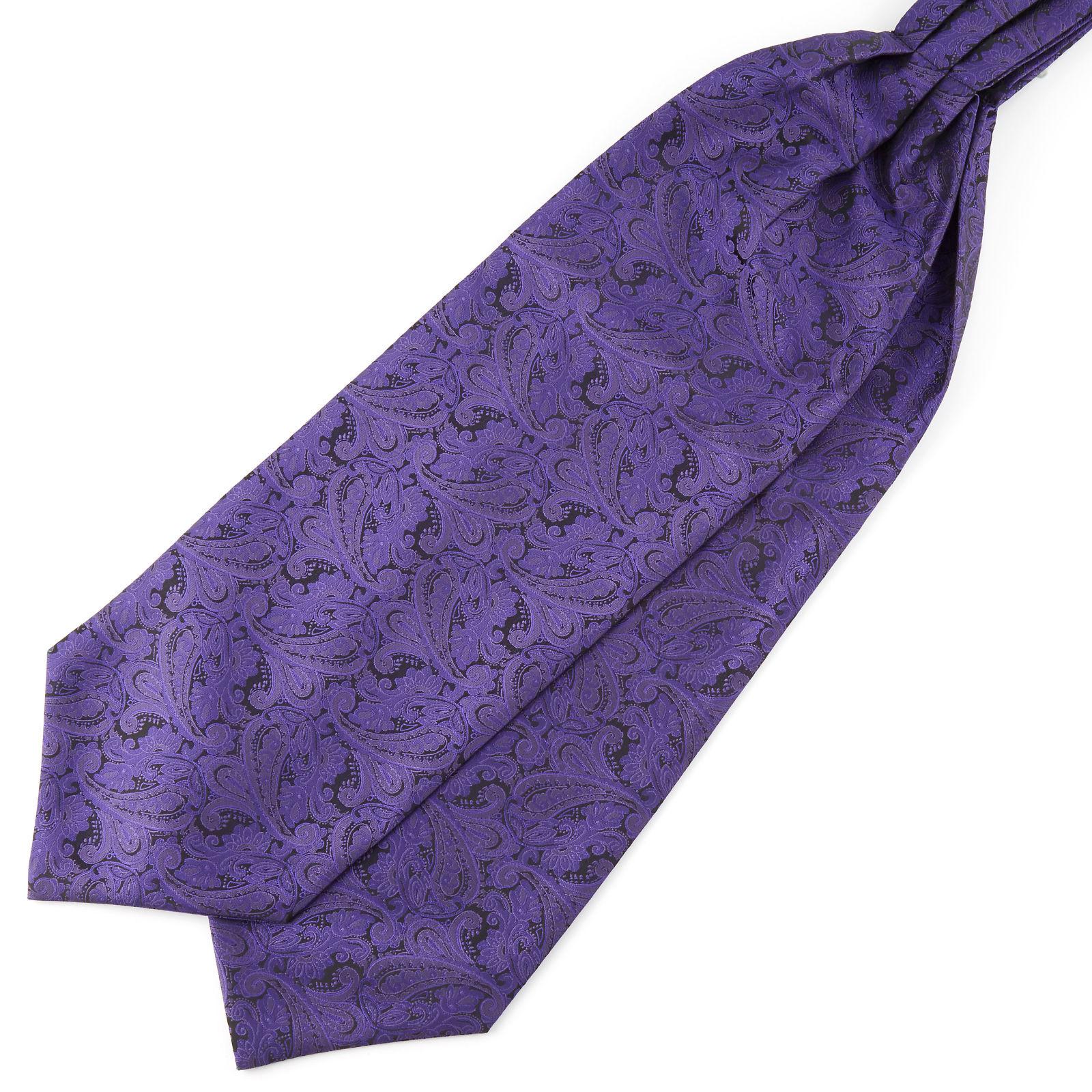 Tailor Toki Tummanvioletti kasmirkuvioinen polyesteri ascot-solmio