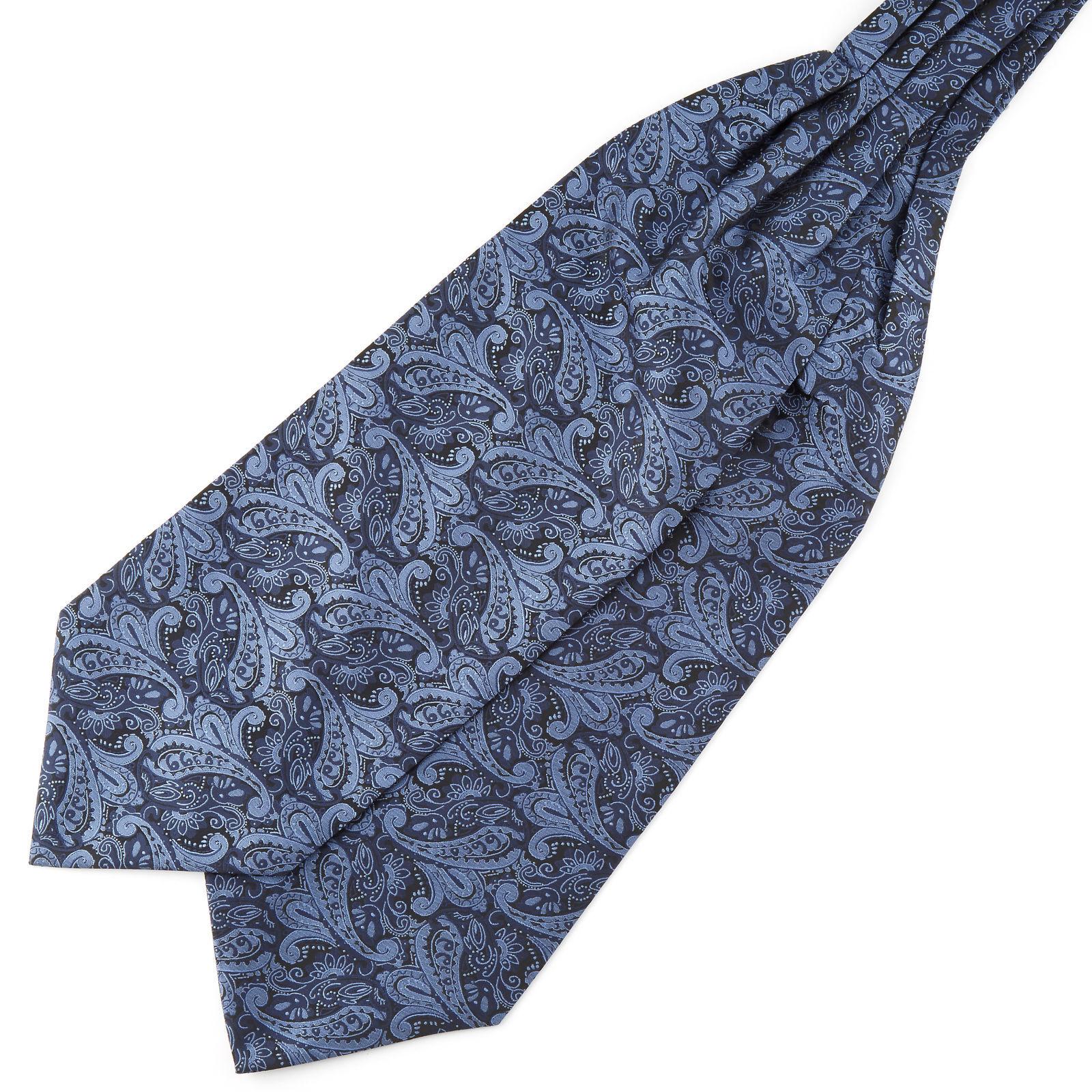 Tailor Toki Laivastonsininen & sininen kasmirkuvioinen polyesteri ascot-solmio