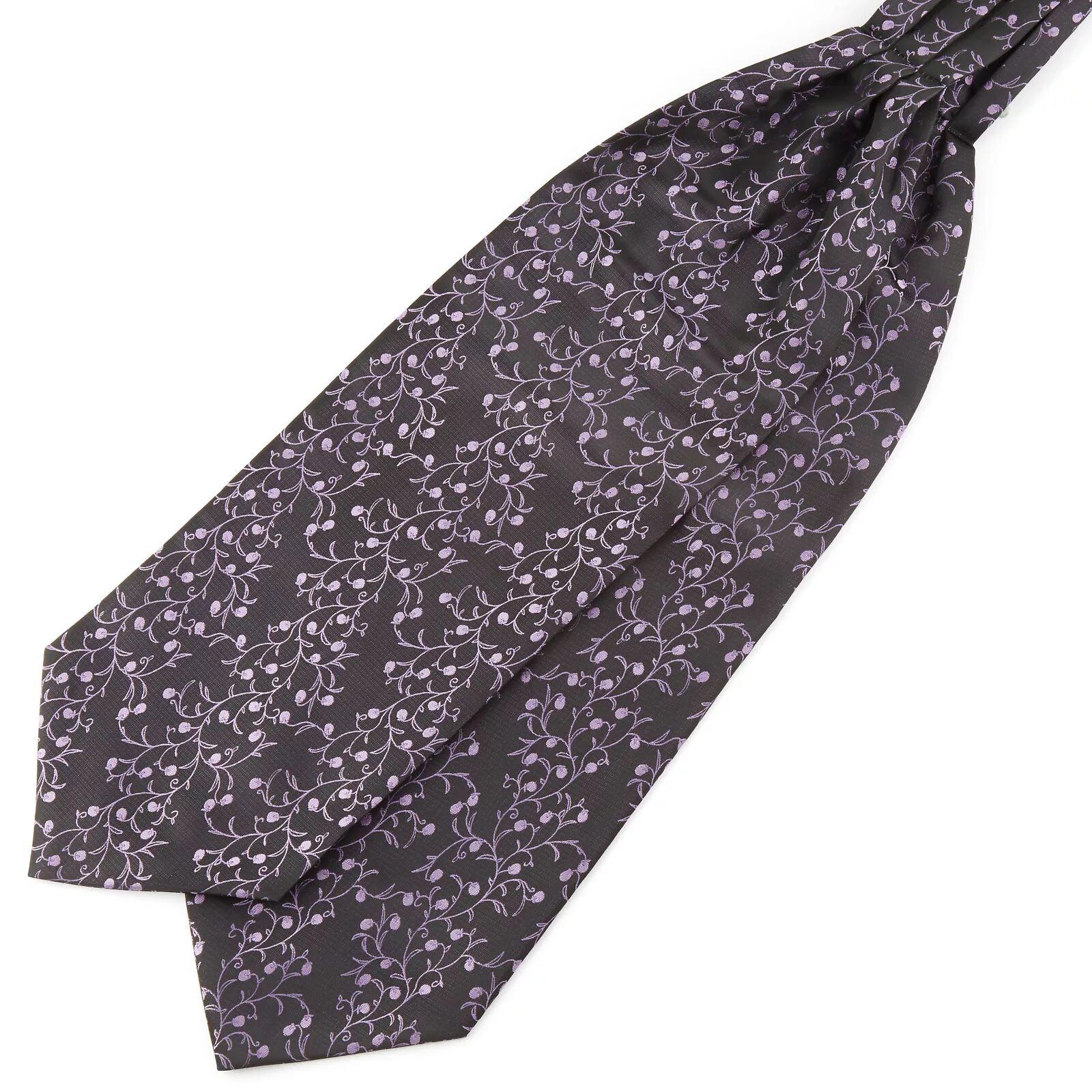Tailor Toki Porvarillinen ruskea & laventeli polyesteri ascot-solmio