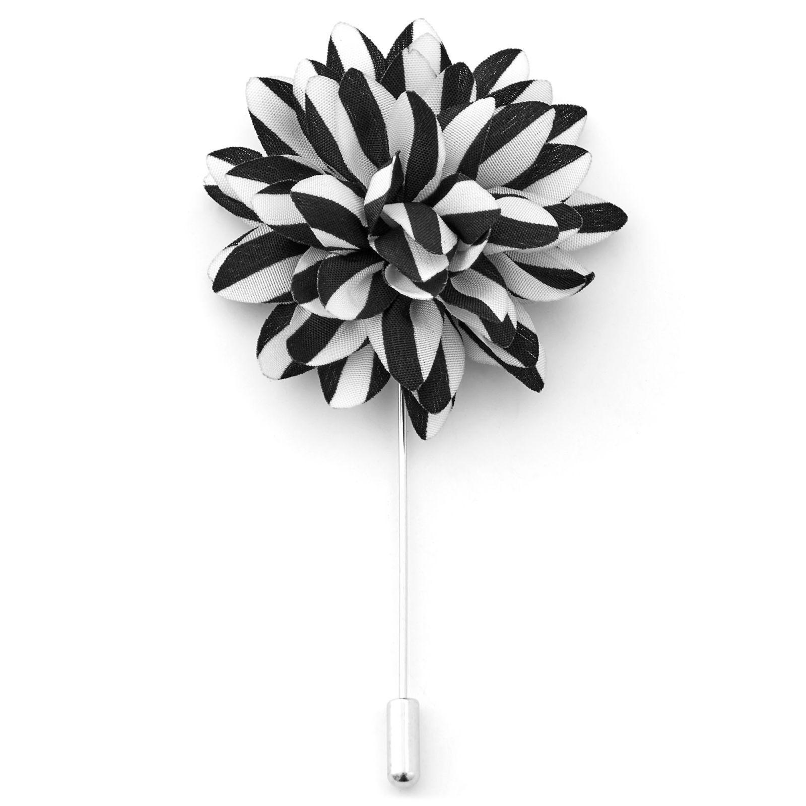 Warren Asher Musta & valkoinen kukkarintaneula