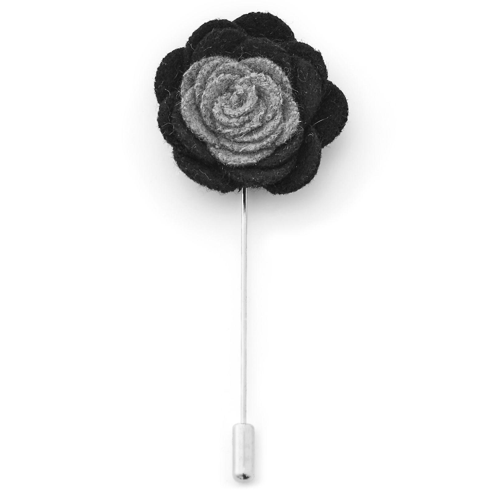 Warren Asher Pehmeä musta & harmaa kukkarintaneula