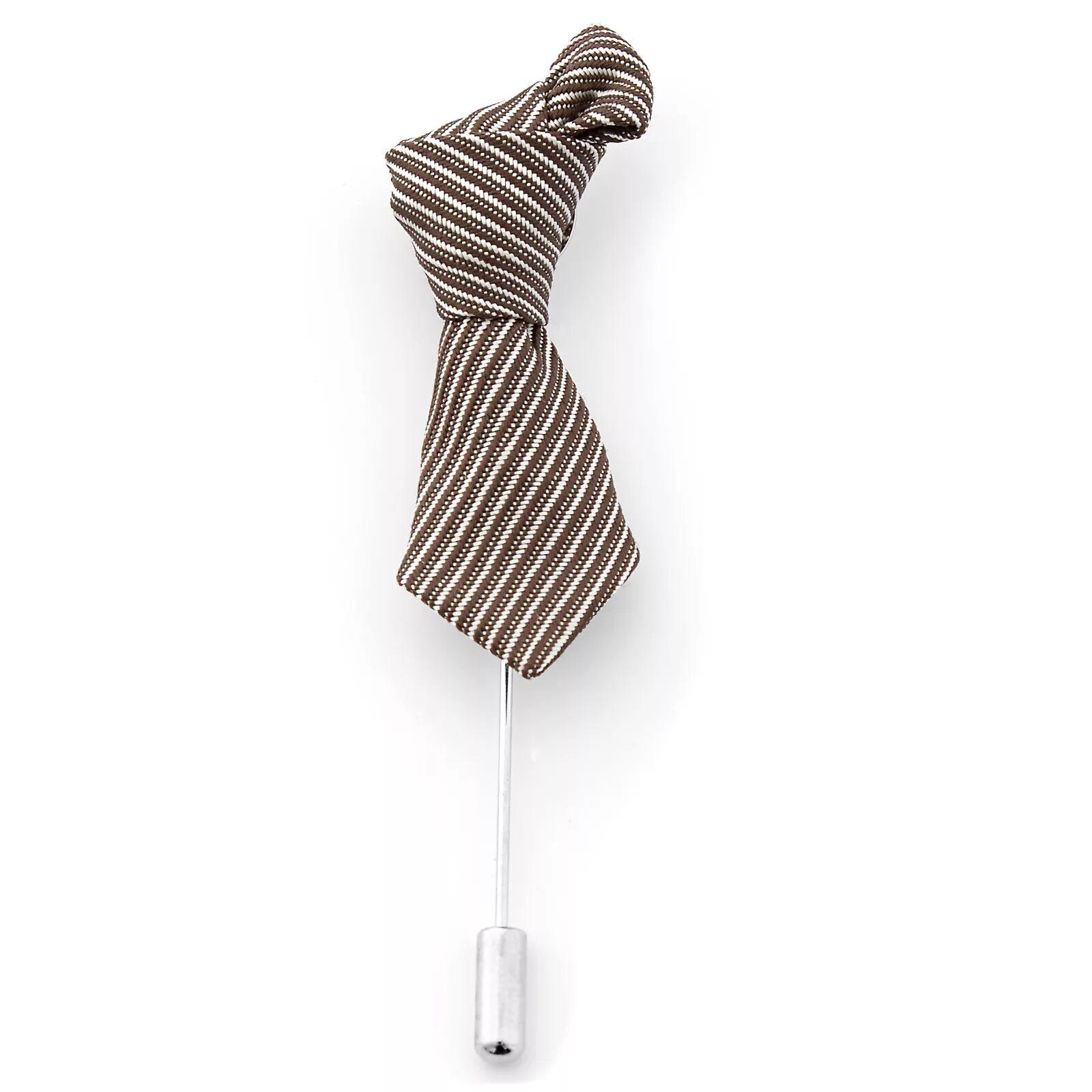 Warren Asher Raidallinen ruskea & kerma solmio -rintaneula
