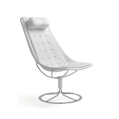 Bruno Mathsson Jetson 66 nojatuoli pitkä tyyny, valkoinen kangas/nahka