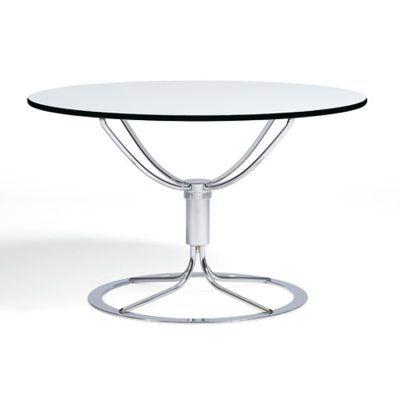 Bruno Mathsson Jetson pöytä Ø80, valkoinen laminaattii/kromi