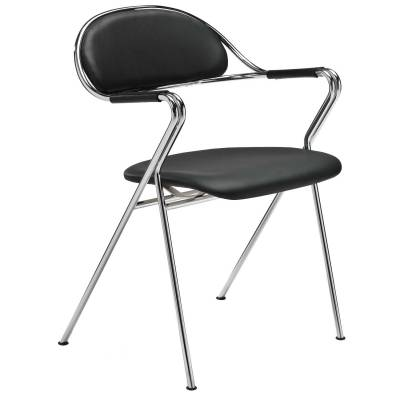 Bruno Mathsson BM65 tuoli, musta nahka