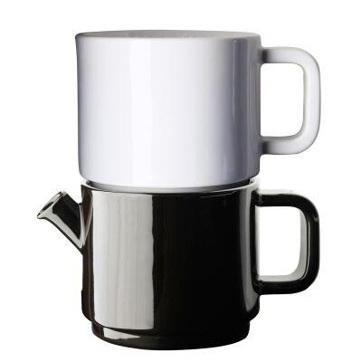 Design: Kristina Stark. Caf kahvikannu, keitin & asetti S, valkoinen/valkoinen