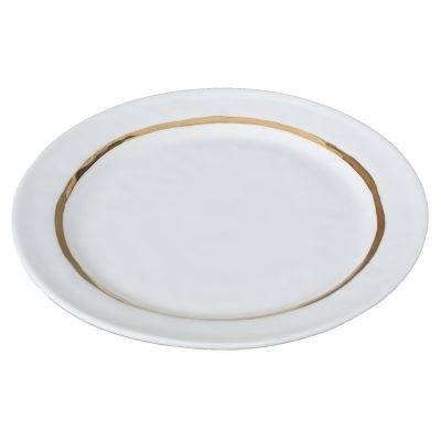 Kajsa Cramer Home Big lautanen Raita 27 cm, valkoinen/kulta