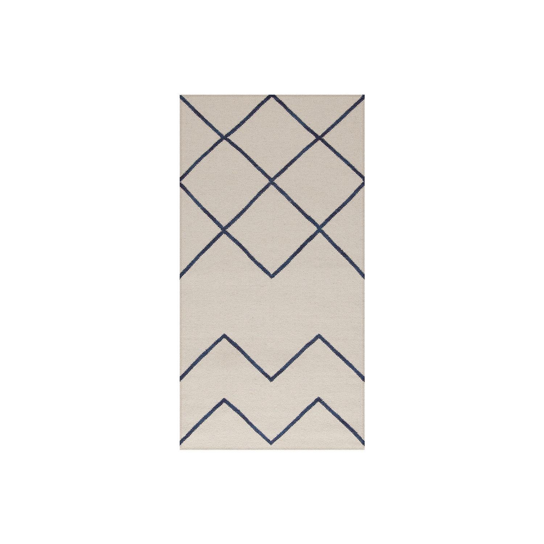 Image of Decotique-Geometrie 01 Matta 80x240cm, Offwhite/Blå