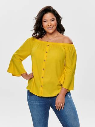 Only Carmakoma Paita Sunny off shoulder  - KELTAINEN / YELLOW - Size: 46