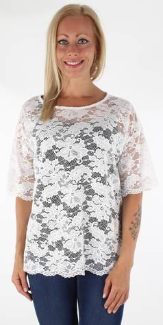 JACQUELINE de YONG JDY T-paita Juan s/s lace  - VALKOINEN / WHITE - Size: M