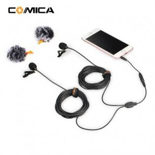e-ville.com Comica CVM-D02 dual nappimikrofoni puhelimeen tai action-kameraan (2,5-6m) - 6m