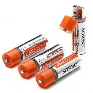 e-ville.com 4 x USB-ladattava AA-akkuparisto 1200mAh