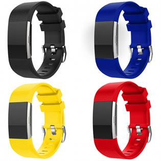 e-ville.com Fitbit Charge 2 silikoniranneke - Keltainen