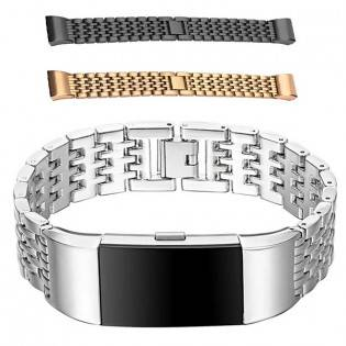 e-ville.com Fitbit Charge 2 metalliranneke - Musta