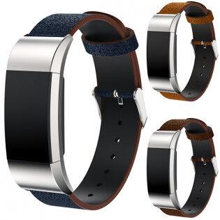 e-ville.com Fitbit Charge 2 nahkaranneke - Vaaleanruskea