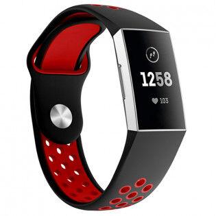 e-ville.com Fitbit Charge 3 silikoniranneke kaksivärinen - Mustapunainen