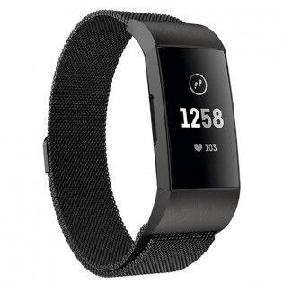 e-ville.com Fitbit Charge 3 teräsranneke - Musta