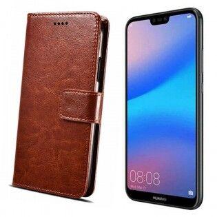 e-ville.com Huawei P20 Lite flip cover -suojakuori - Tummansininen