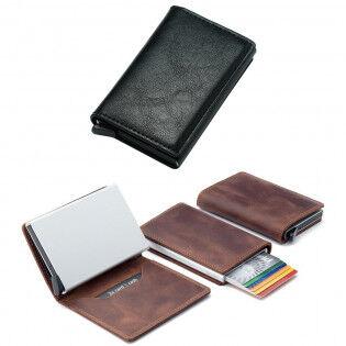 e-ville.com RFID-suojattu pop-up-korttilompakko - Musta, Nahka