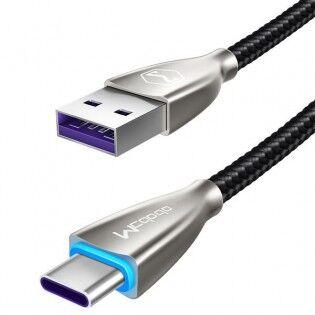 e-ville.com USB Type-C Quick Charge 4.0 kaapeli 1-2m - 1.5m, Vaaleansininen