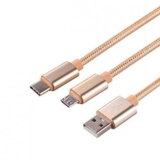 Oukitel 2-in-1 pitkäpäinen USB-kaapeli - Kulta