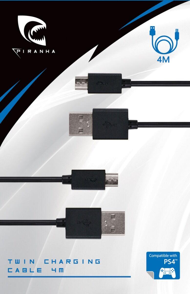 Piranha PS4 Twin Charging Cable 4 metriä