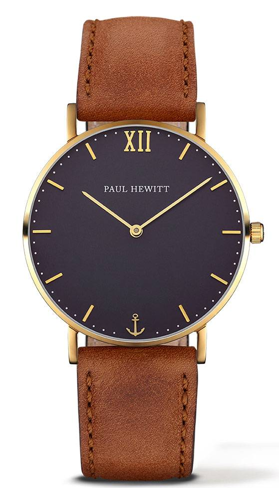 Paul Hewitt Sailor Line Gold Blue 39mm Leather Nubuck Brown PH-SA-G-St-B-1M