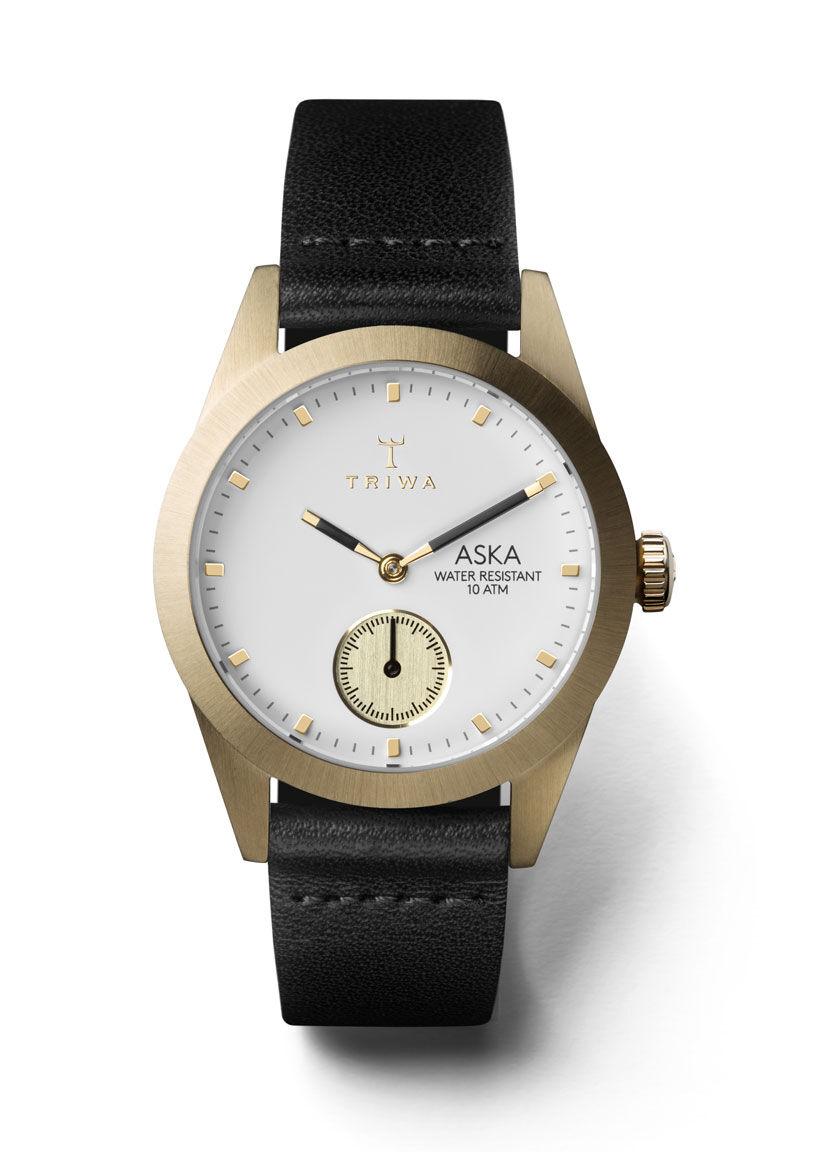 Triwa AKST101 Ivory Aska Black Classic Super Slim-Gold Bucle