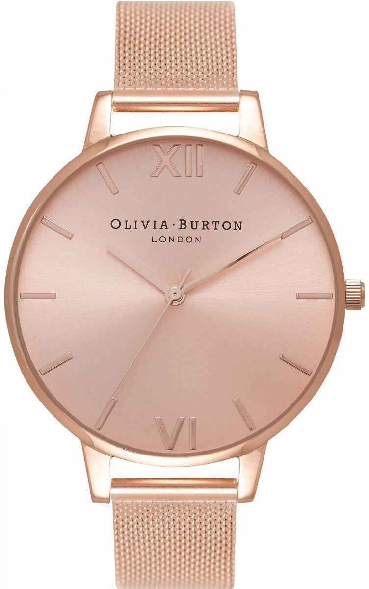 Olivia Burton Big Dial Rose Gold Sunray Mesh OB16BD102