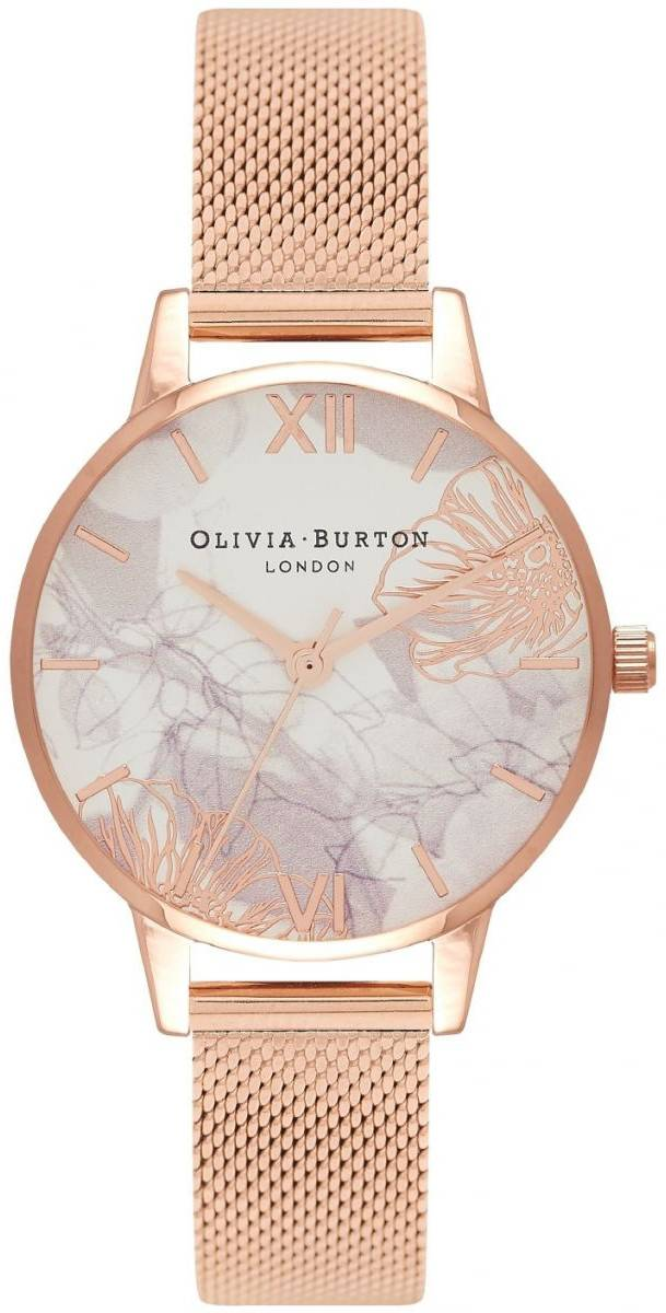 Olivia Burton Abstract Florals Rose Gold Mesh OB16VM11