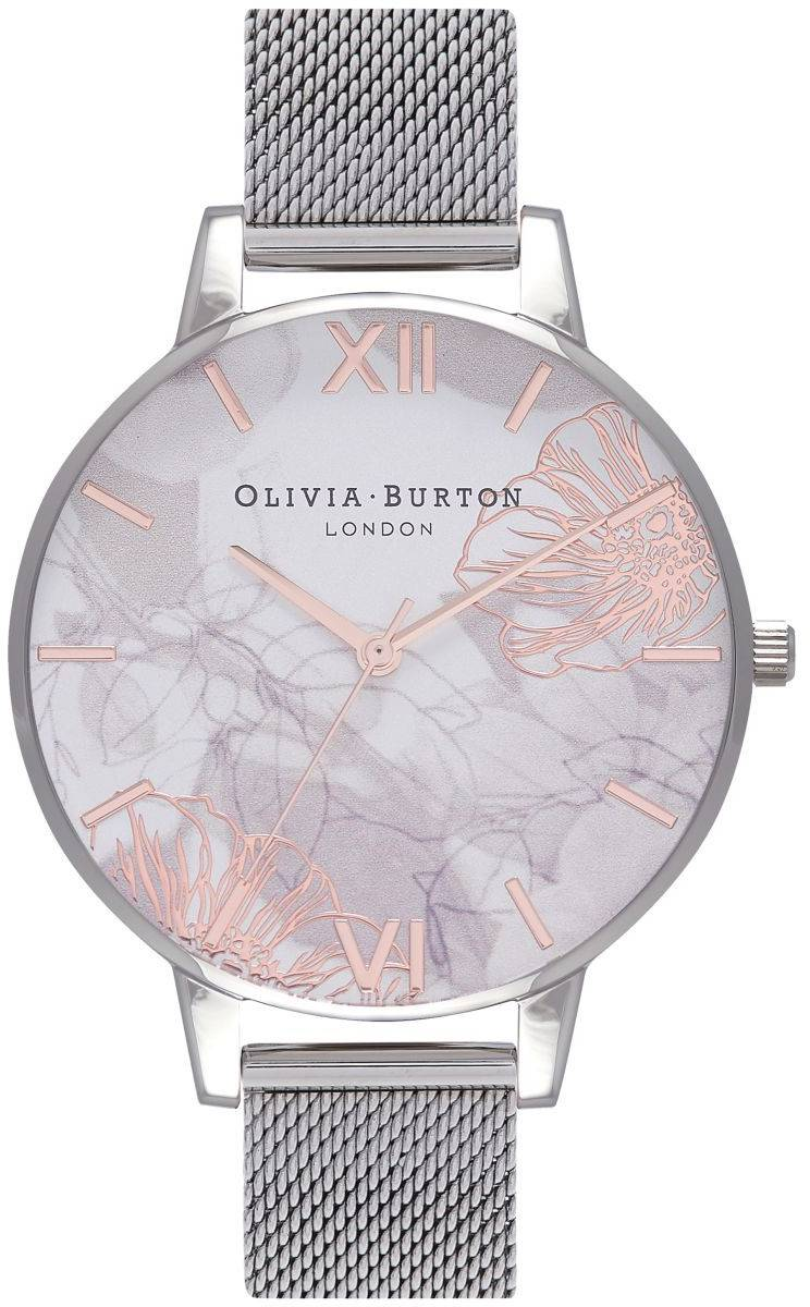 Olivia Burton Abstract Florals Silver Mesh OB16VM20