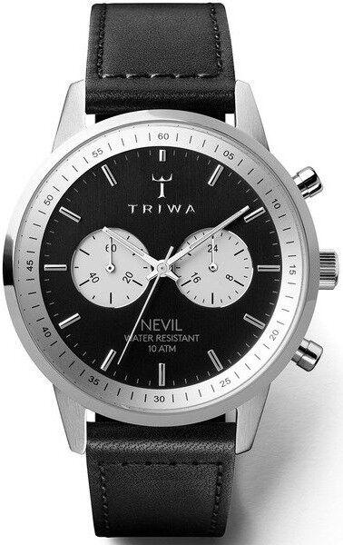 Triwa NEST118 Slate Nevil Black Sewn Classic Silver