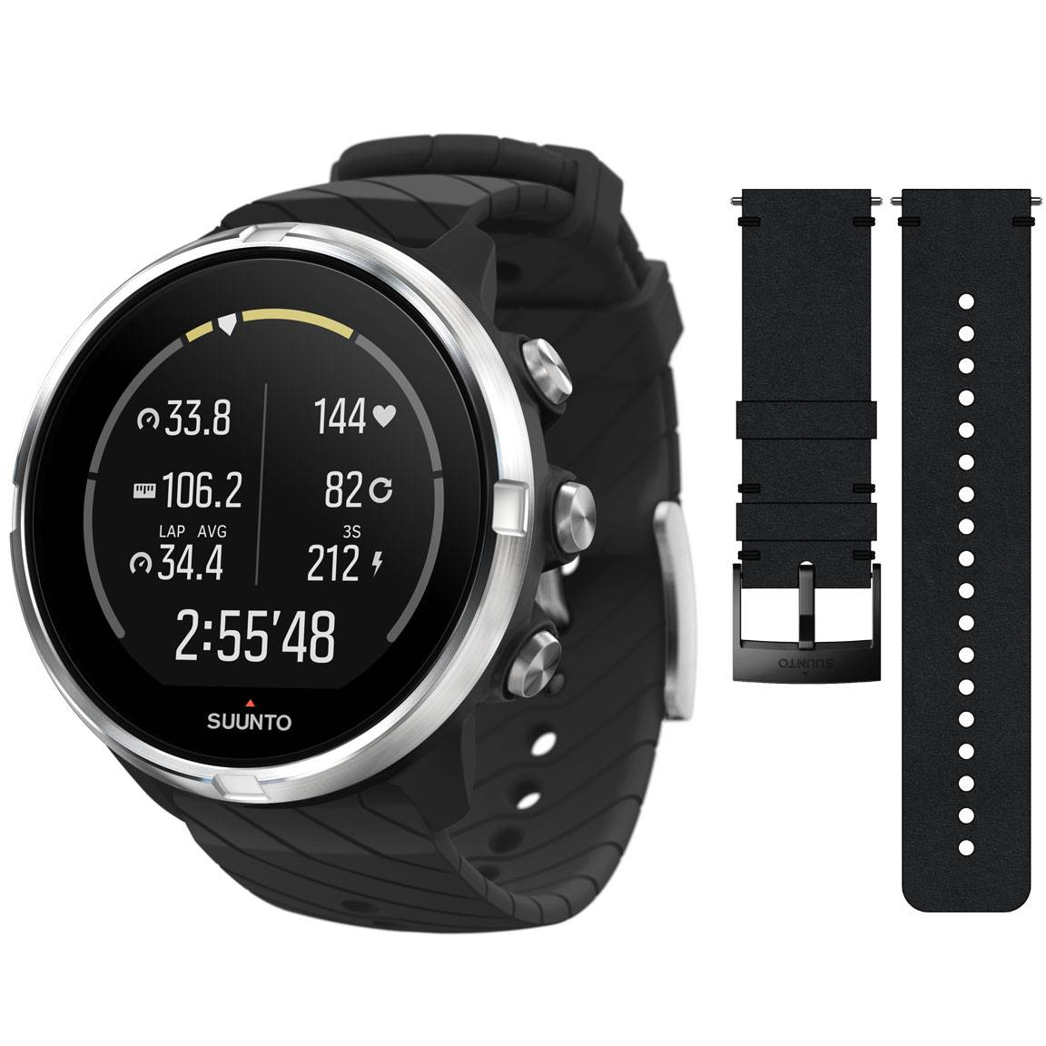 Suunto 9 Black + leather strap