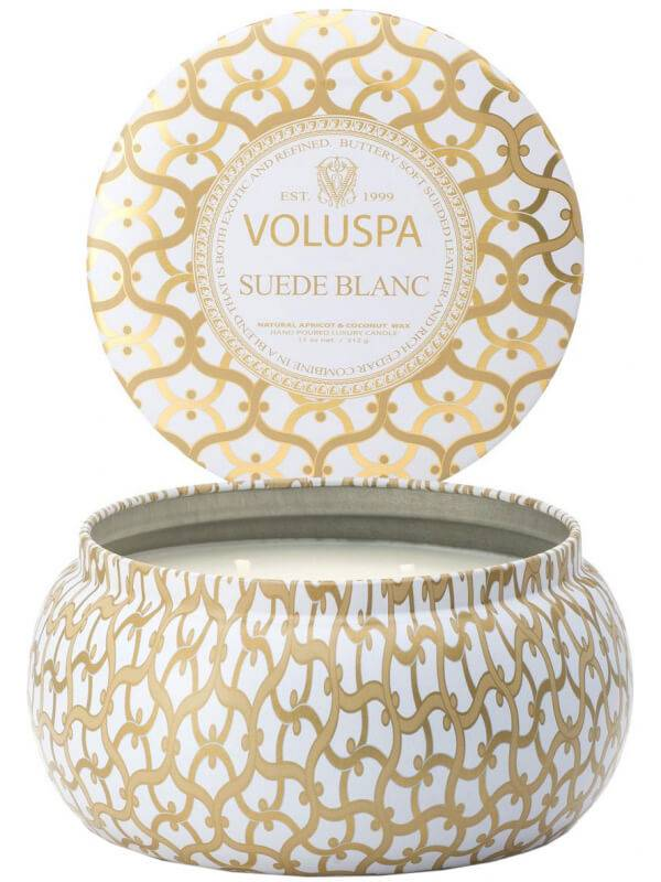 Voluspa 2 Wick Metallo Candle Suede Blanc