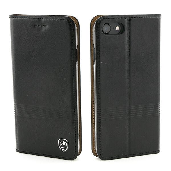 Apple iPhone 7 / 8 Nahkainen PLN Stripe Lompakko Suojakotelo, Musta