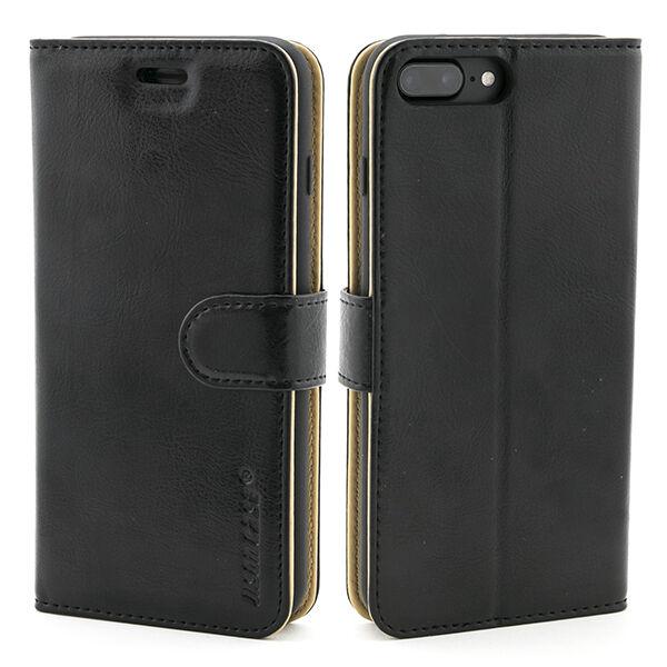 Apple iPhone 7 Plus / 8 Plus Nahkainen Labato Lompakko Suojakotelo, Musta