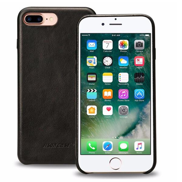 Apple iPhone 7 Plus / 8 Plus Jisoncase Nahkainen Suojakuori, Musta